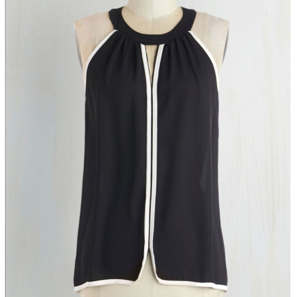 Modcloth Tops - Lila Clothing Black & White Halter Blouse